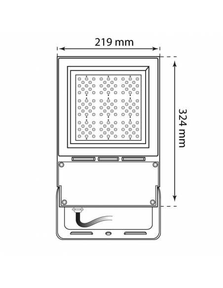 Proyector LED 50W de exterior, VIPER. Dibujo técnico, medidas frontales.