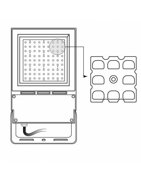 Lente asimétrica para el PROYECTOR EXTERIOR LED, modelo VIPER. Muestra de colocación.