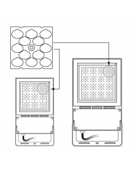 Lente asimétrica de 150ºx75º para el proyector LED exterior VIPER de 80W y 150W. Detalle de colocación.