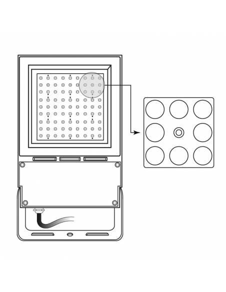 Lente simétrica 15º para el proyector LED exterior modelo VIPER. Muestra de colocación.