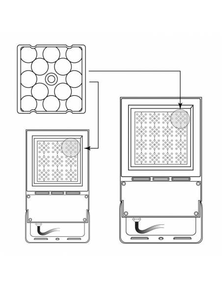 Lente simétrica 15º para el proyector LED exterior modelo VIPER 80W y 150W. Muestra de colocación.