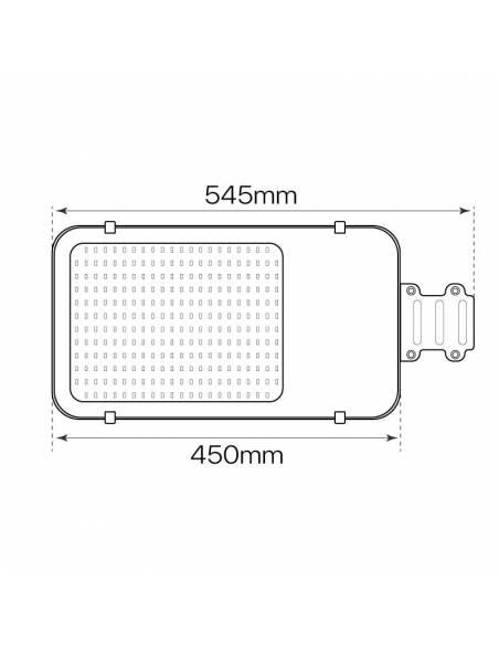 Luminaria LED exterior vial, modelo CHEAP de 100W. Medidas frontales