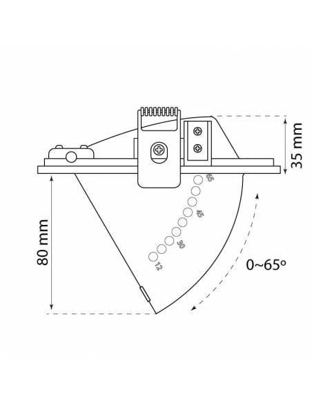 Foco empotrable de led modelo HALIDE LYON de 35W. Medidas laterales abierto