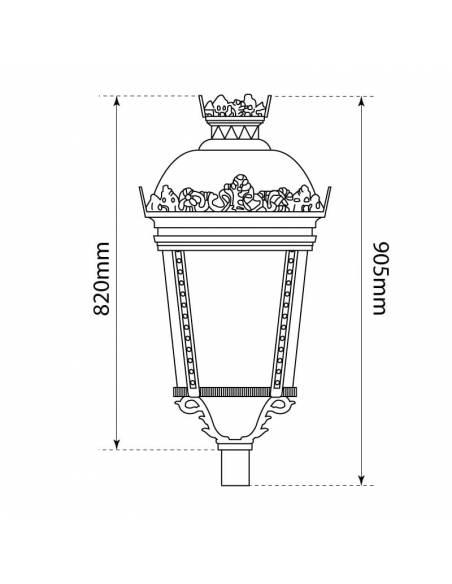 Farol led exterior, modelo PALACIO de 40W, luminaria clásica estilo Fernandino. medidas frontales.