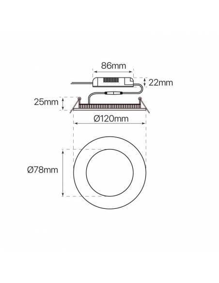 Downlight LED 6W, Slim redondo. Medidas y dimensiones