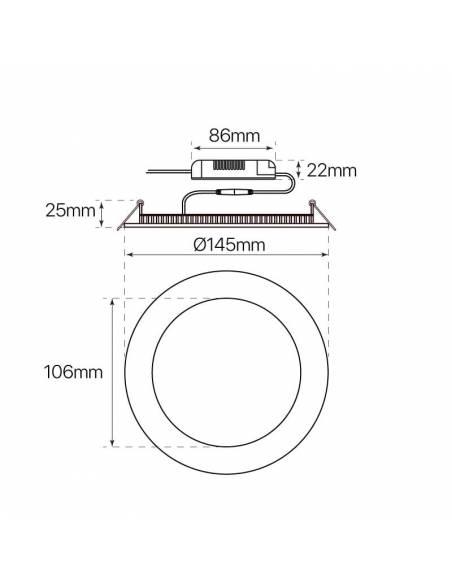 Downlight LED 9W, Slim redondo. dimensiones y medidas.