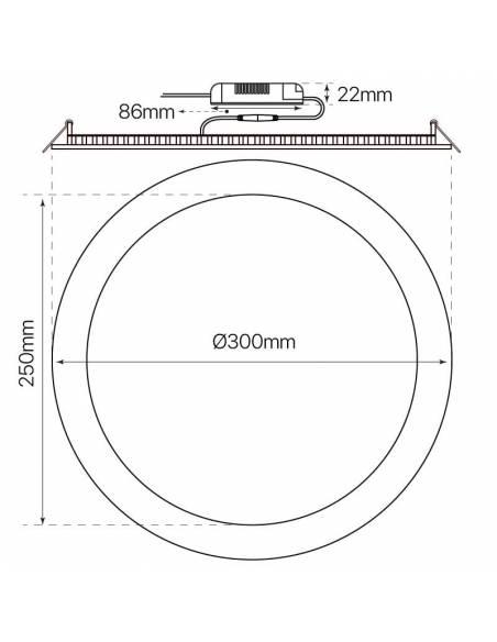 Downlight LED 24W, Slim redondo. Dimensiones y medidas