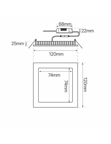 Downlight LED 24W, Slim cuadrado. Medidas y dimensiones.