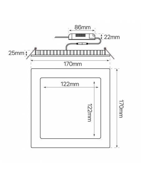 Downlight led 12W cuadrado, modelo SLIM. Medidas y dimensiones.