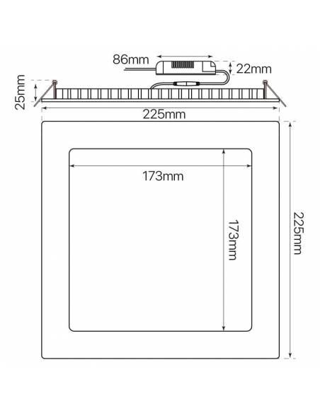 Downlight led 20W, modelo SLIM, cuadrado. Medidas y dimensiones.