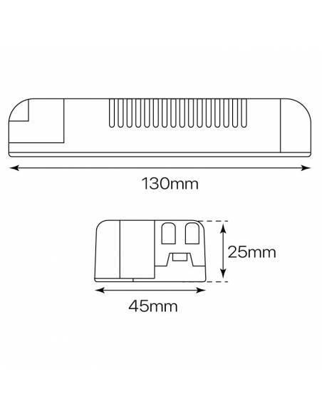 Driver LED dimmable para Downlight y plafones modelo slim de 20W a 24W. Medidas