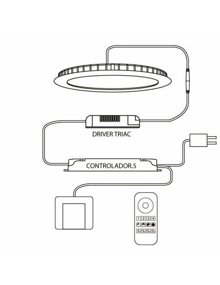 CONTROLADOR.5 compatible para todos los productos LED regulables y sistema TRIAC. Esquema de instalación