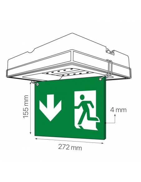 "Letrero ""EXIT"" para colocación en luz de emergencia led, modelo VISEL. Dibujo técnico."