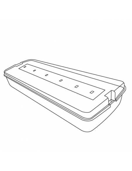 Luz de emergencia led, modelo IGNI 1W dibujo técnico.