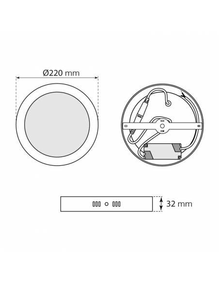 Plafón led, SLIM eco mode, redondo de 18W, blanco. medidas y dimensiones.