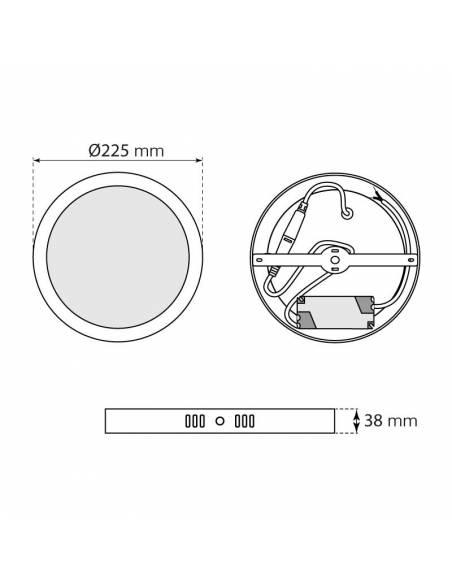 Plafón led, modelo SLIM, REDONDO de 20W, medidas y dimensiones.