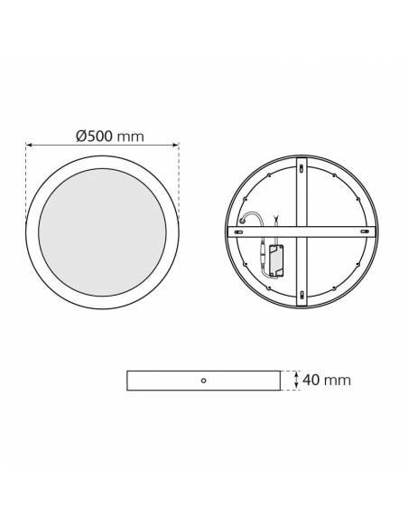 Plafón led, modelo SLIM, redondo de 48W, dimensiones y medidas.