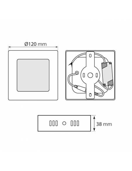 Plafón led, modelo SLIM, cuadrado de 6W dimensiones y medidas.