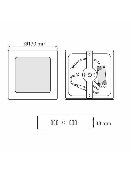 Plafón led, modelo SLIM de 12W, cuadrado, medidas y dimensiones.