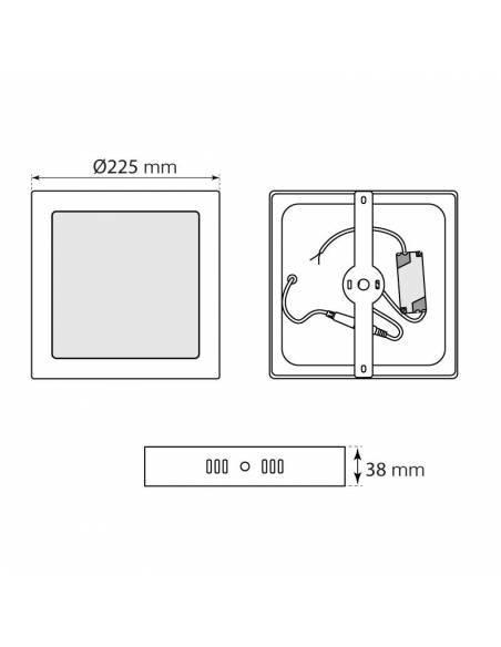 Plafón led, modelo SLIM, cuadrado, de 20W, medidas y dimensiones