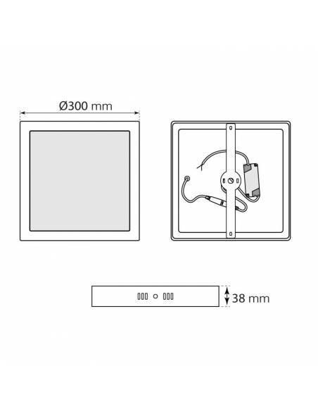 Plafón led, modelo SLIM, cuadrado, de 24W, medidas y dimensiones