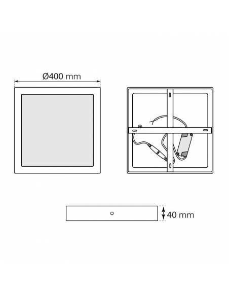 Plafón led, modelo SLIM, cuadrado, de 36W, medidas y dimensiones