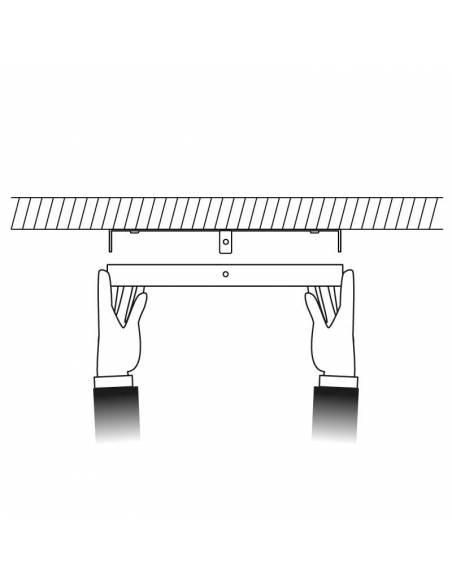 Plafón led, modelo SLIM, cuadrado, de 36W, dibujo de colocación.