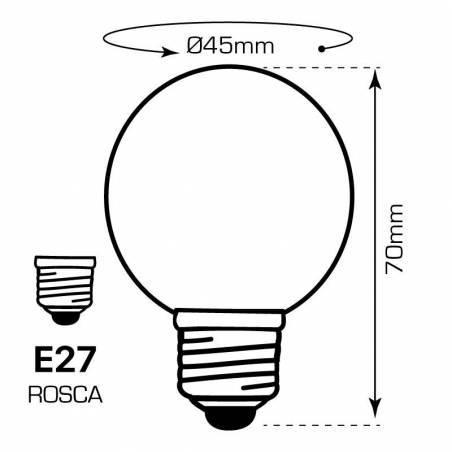 BOMBILLA DE COLORES LED de 1W, cuatro colores disponibles. Dibujo técnico, dimensiones y medidas.
