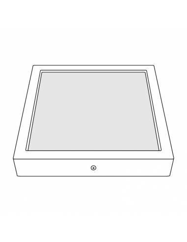 Plafón led, modelo SLIM, cuadrado, de 48W, dibujo técnico.
