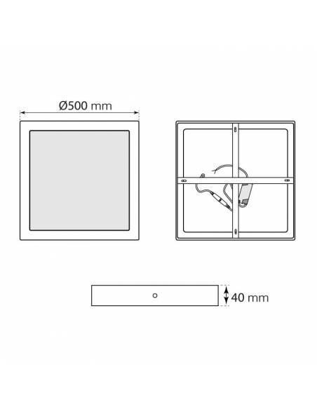Plafón led, modelo SLIM, cuadrado, de 48W, medidas y dimensiones.