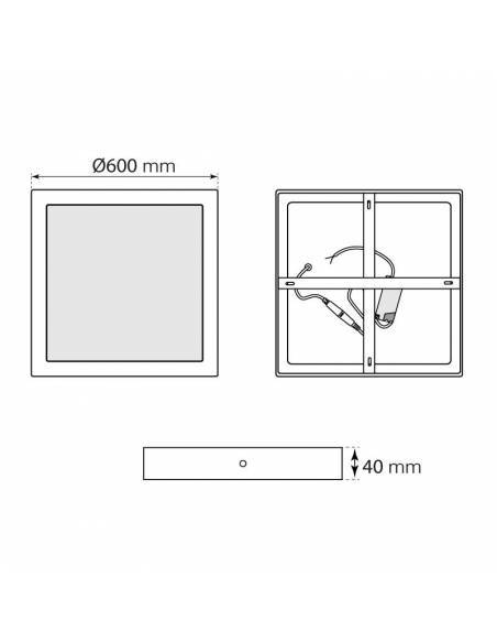 Plafón led, modelo SLIM, cuadrado, de 56W, medidas y dimensiones.