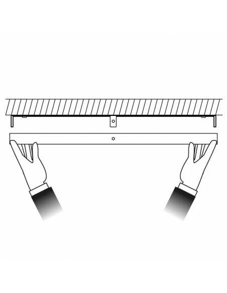 Plafón led, modelo SLIM, cuadrado, de 56W, dibujo de colocación.