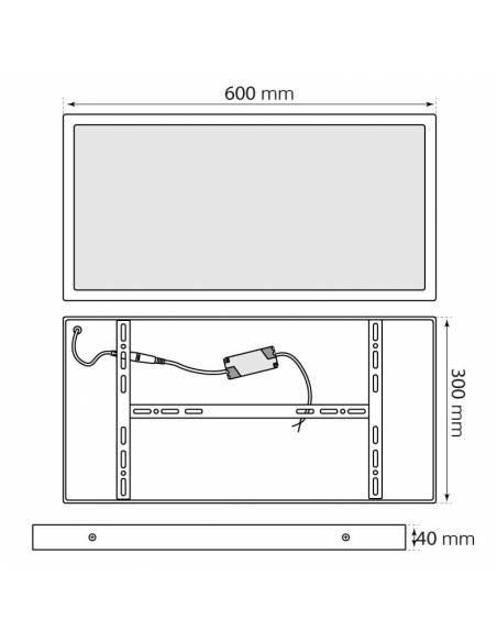 Plafón LED, modelo SLIM, rectangular, de 36W, medidas y dimensiones.