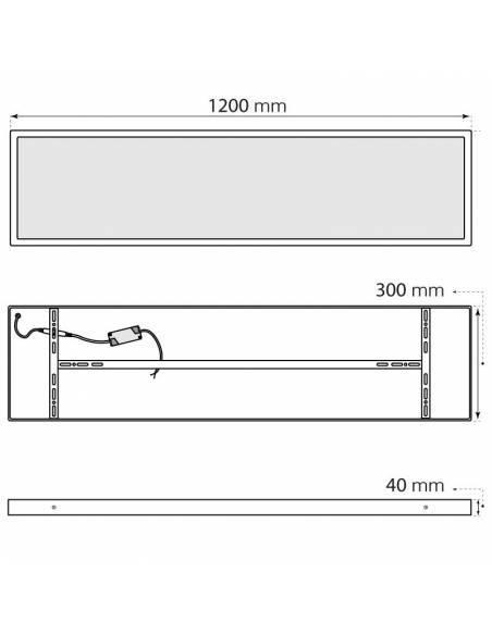 Plafón LED, modelo SLLIM, rectangular, de 56W, medidas y dimensiones