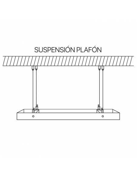 cables de acero, kit de suspensión plafones y placas de luz. Muestra de suspensión de plafon led.
