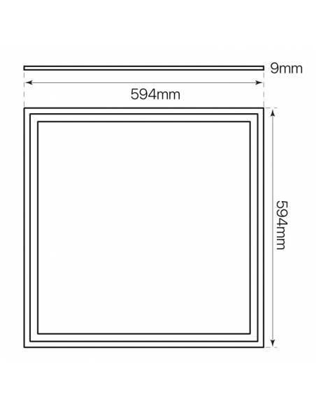 Panel led 60x60, ECO MODE de 40W, color blanco. Medidas.