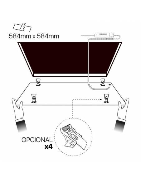 Panel led 60x60, ECO MODE de 40W, color blanco. Colocación en techo.