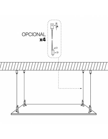 Panel led 60x60, ECO MODE de 40W, color blanco.  Colocación suspendido del techo.