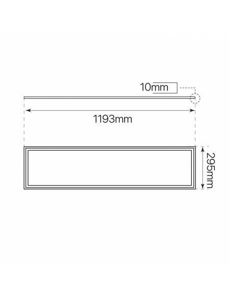 Panel led 30 x 120 cms, ECO rectangular de 48W, medidas y dimensiones.