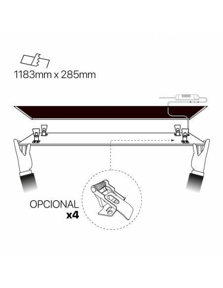 Panel led 30 x 120 cms, ECO rectangular de 48W, esquema de empotrar en techo.