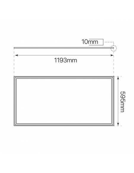 Panel LED, modelo ECO, de 120x60 cms, rectangular, potencia 64W. Medidas y dimensiones.
