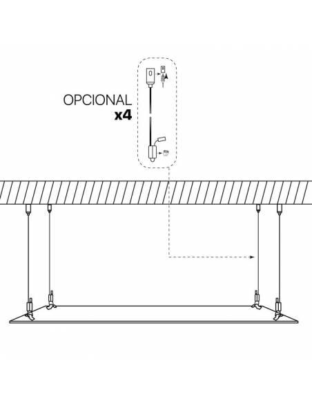 Panel LED, modelo ECO, de 120x60 cms, rectangular, potencia 64W. Esquema de suspensión a techo.
