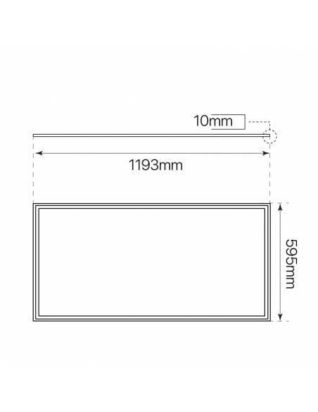 Panel LED, rectangular de 120 x 60 cms, de 80W, medidas o dimensiones.