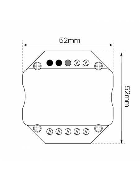 Controlador LED modelo 4 para paneles led. Medidas y dimensiones