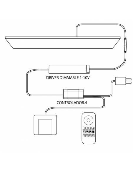 Controlador LED modelo 4 para paneles led. Esquema de funcionamiento.
