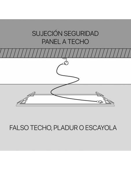Cable de acero, kit de seguridad para paneles led empotrados. Modo de anclaje a techo.