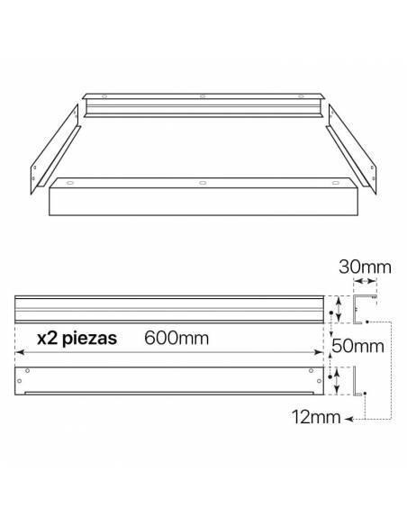 Marco de 60 x 60 cms. para transformar panel led en plafón led. piezas y montaje.