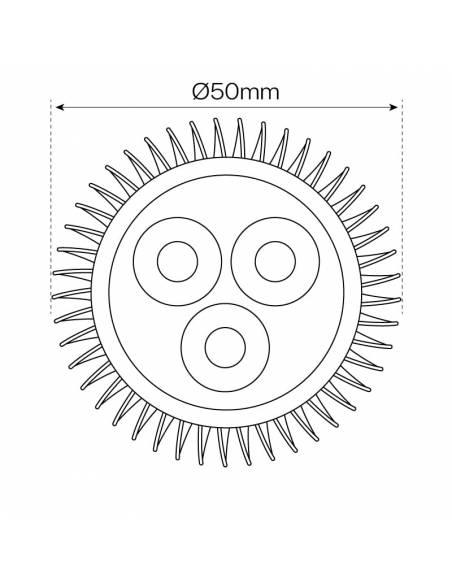 Bombilla dicroica LED MR16 9W, dibujo diámetro.