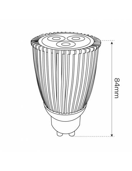 Bombilla dicroica led GU10 de 9W, dibujo técnico, dimensiones.