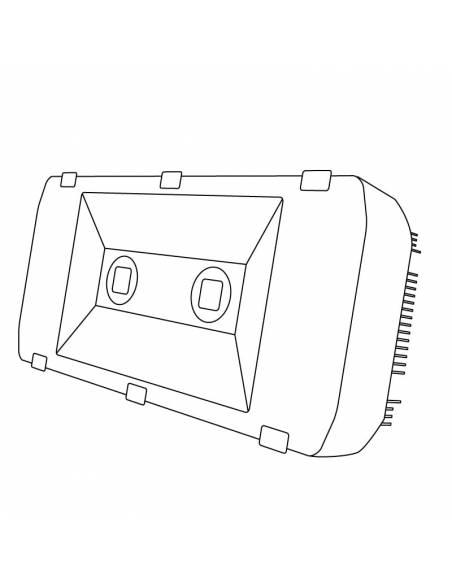 Proyector LED 200W de exterior, modelo SPORT. Dibujo técnico.